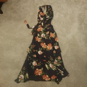 Lulu's navy floral wrap ruffled maxi dress